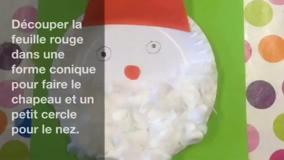 Réaliser Un Père Noël Avec Une Assiette En Carton Et Du Coton